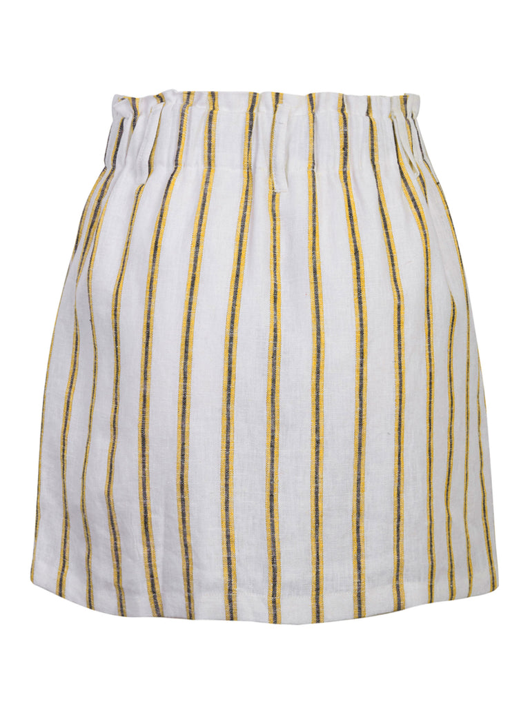 KOGMO Women's Casual Striped Summer Linen Skrits with Buttons Detail