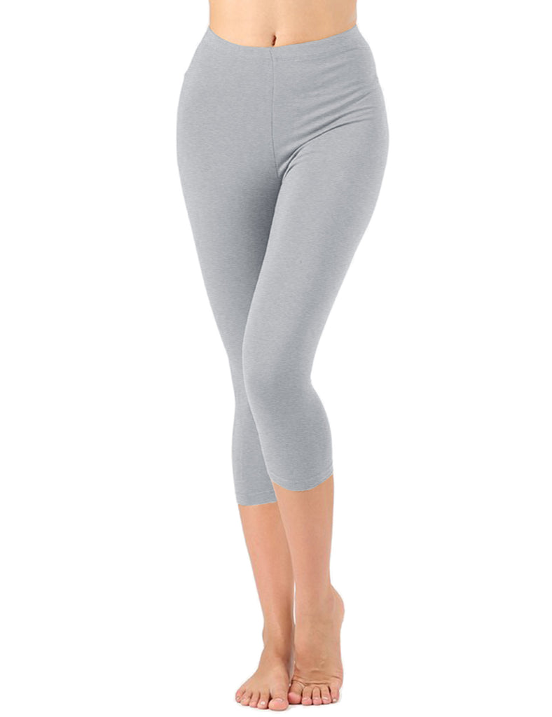 Womens Premium Cotton Comfortable Stretch Capri Leggings 19in Inseam