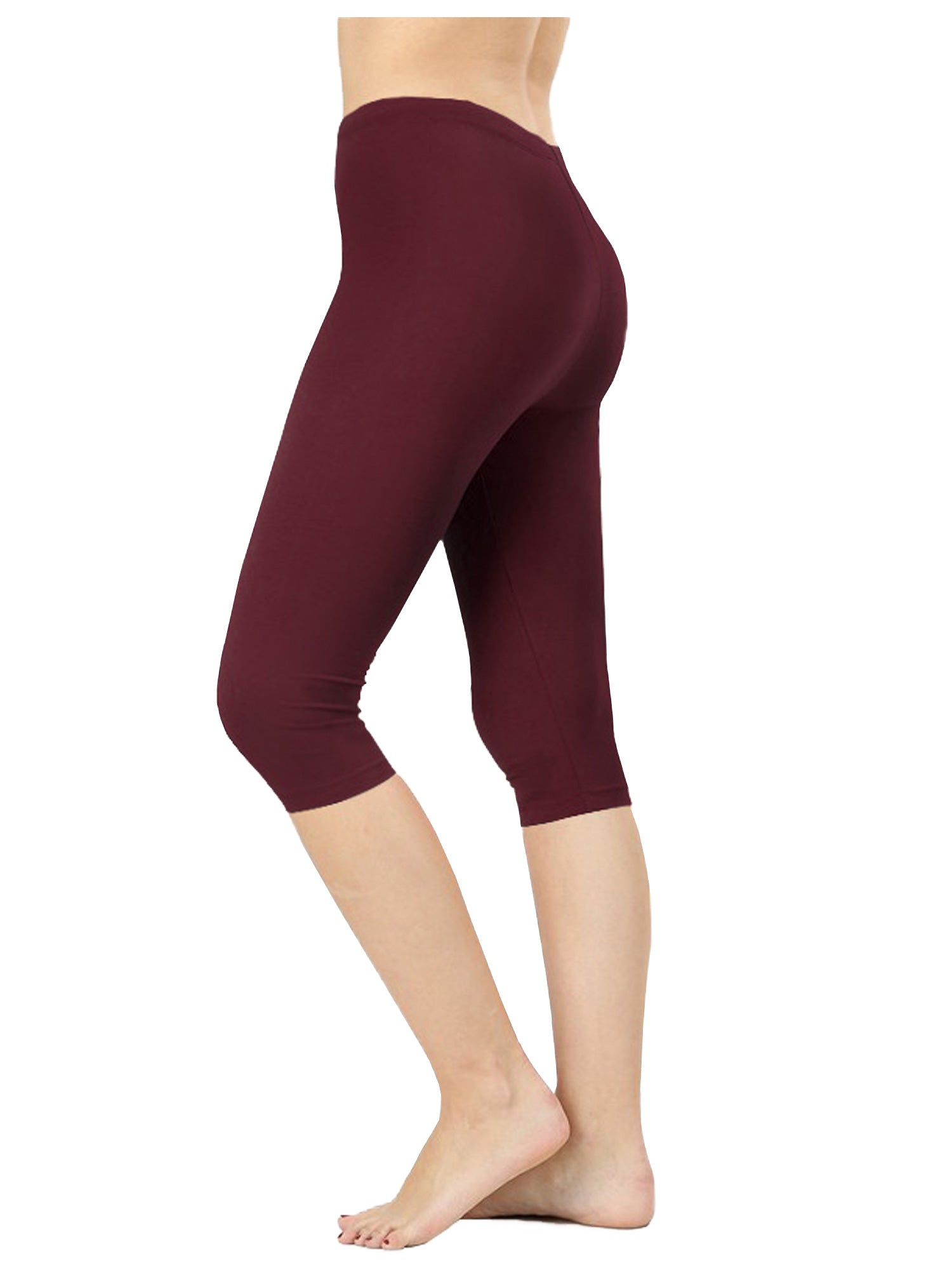 96fee73edf4262 ... Womens Premium Cotton Comfortable Stretch Capri Leggings 15in Inseam (3- Pack) ...