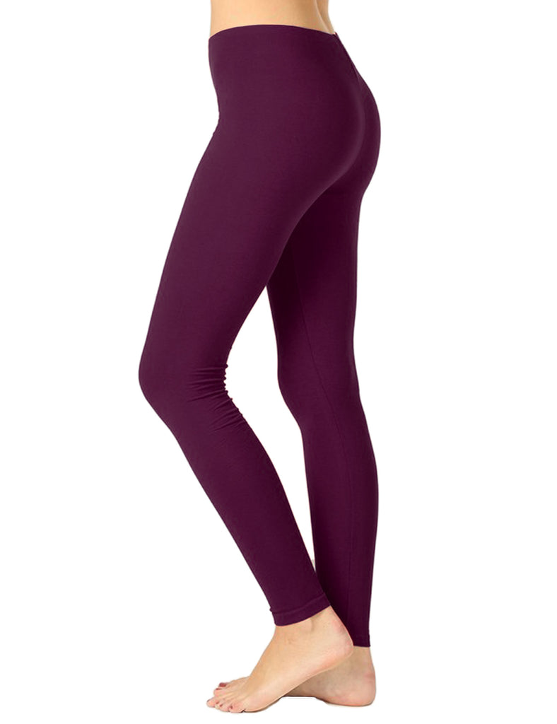 Womens Premium Cotton Full Length Leggings Multi Colors (S-XL)