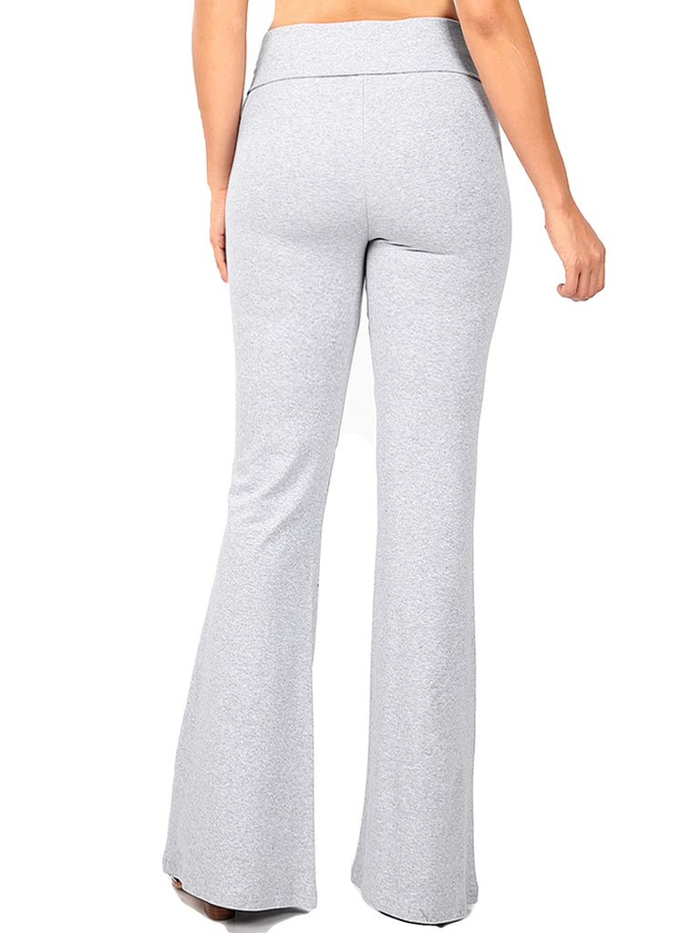 KOGMO Women's Premium Cotton Flared Fold Over Yoga Pants Exercise Pants (S-3X)
