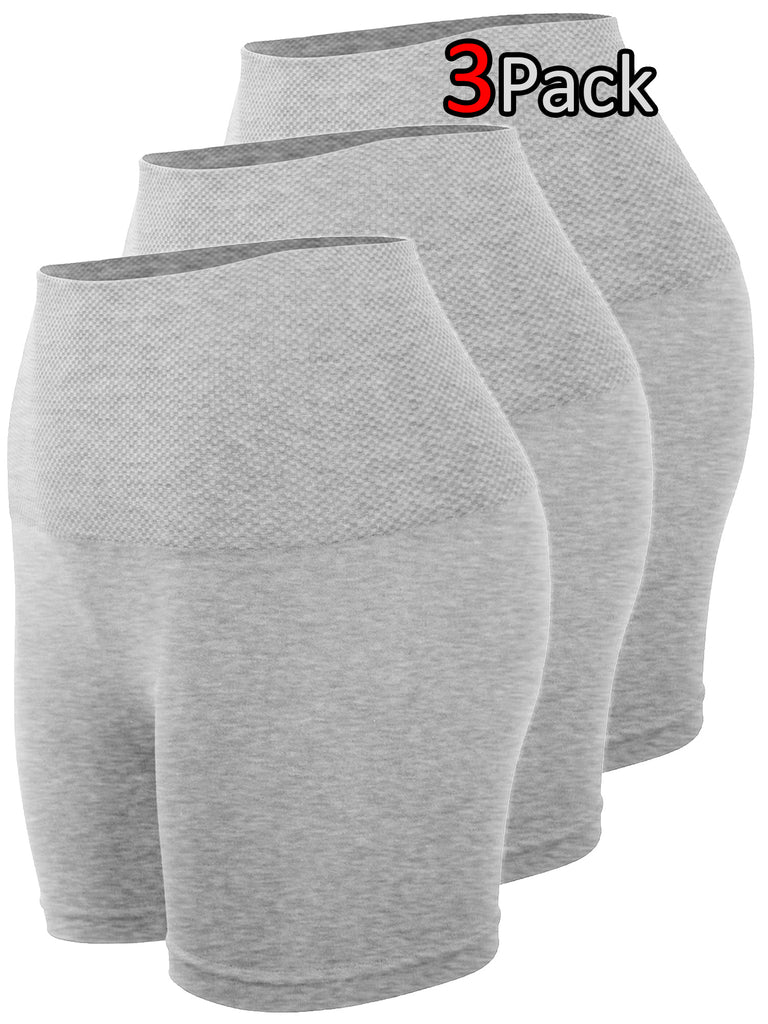 KOGMO Women's Tummy Control Fitness Workout Running Bike Yoga Shorts Leggings (3 Pack)