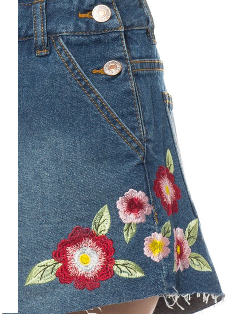 Womens Denim Overall Romper with Floral Embroidery