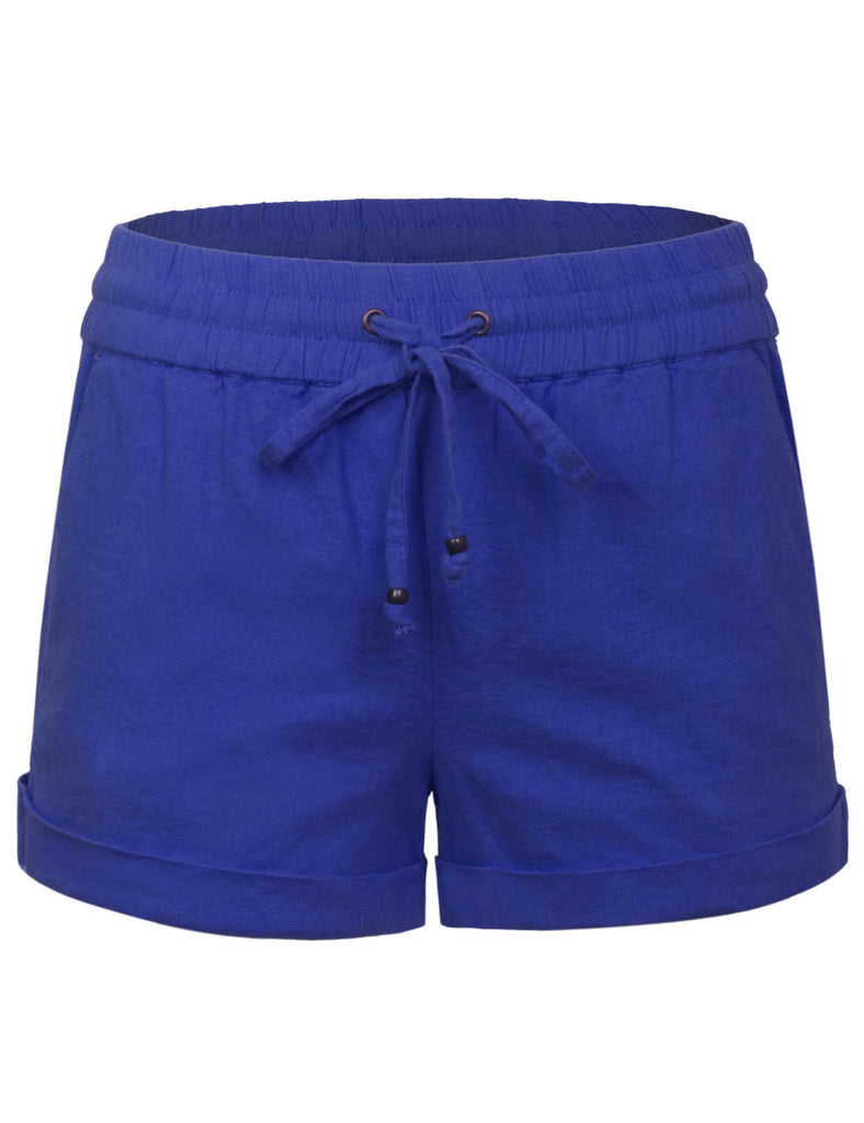 Womens Lightweight Linen Shorts with Drawstring (10 Colors)
