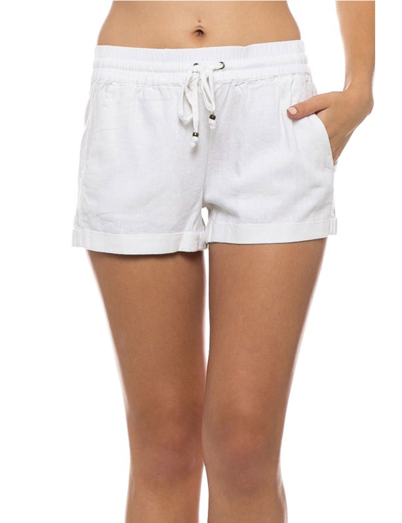 Womens Lightweight Linen Shorts with Drawstring