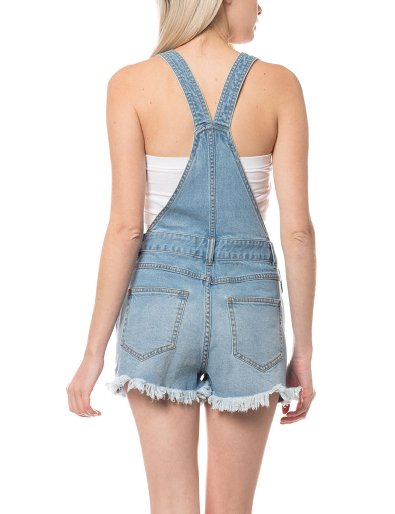 Women's Distressed & Washed Denim Overall Romper with Raw Hemline