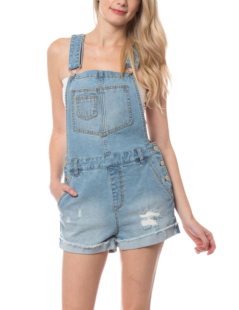 Women's Distressed & Washed Denim Overall Romper with Folded Hemline
