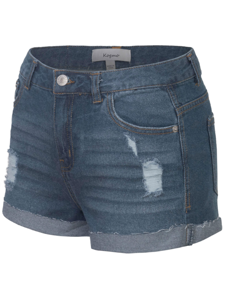 Women's Distressed Denim Shorts Folded Hem