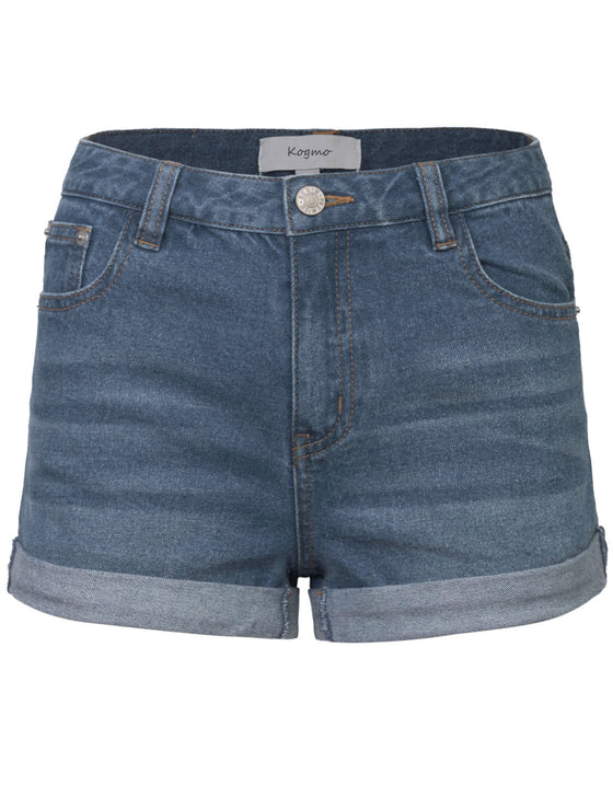 Women's Classic Light Washed Denim Shorts Double Folded Hem
