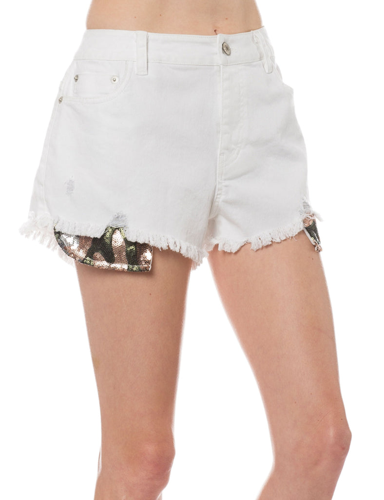 Women's Distressed Vintage Denim Shorts with Sequin Pockets