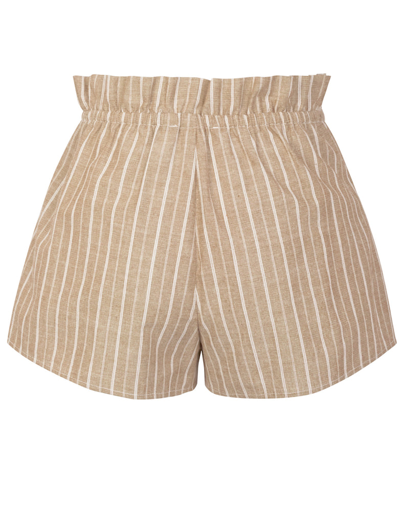 KOGMO Women's Casual Striped Summer Beach Shorts With Self Tie Bow