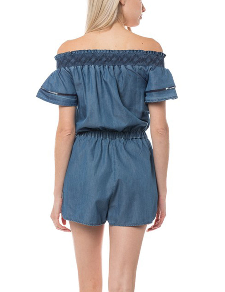 Women's Casual Off Shoulder Tencel Denim Romper