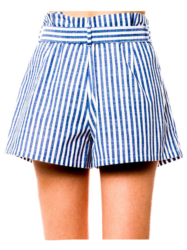 KOGMO Womens Casual Striped Summer Beach Shorts Zipper with Belt
