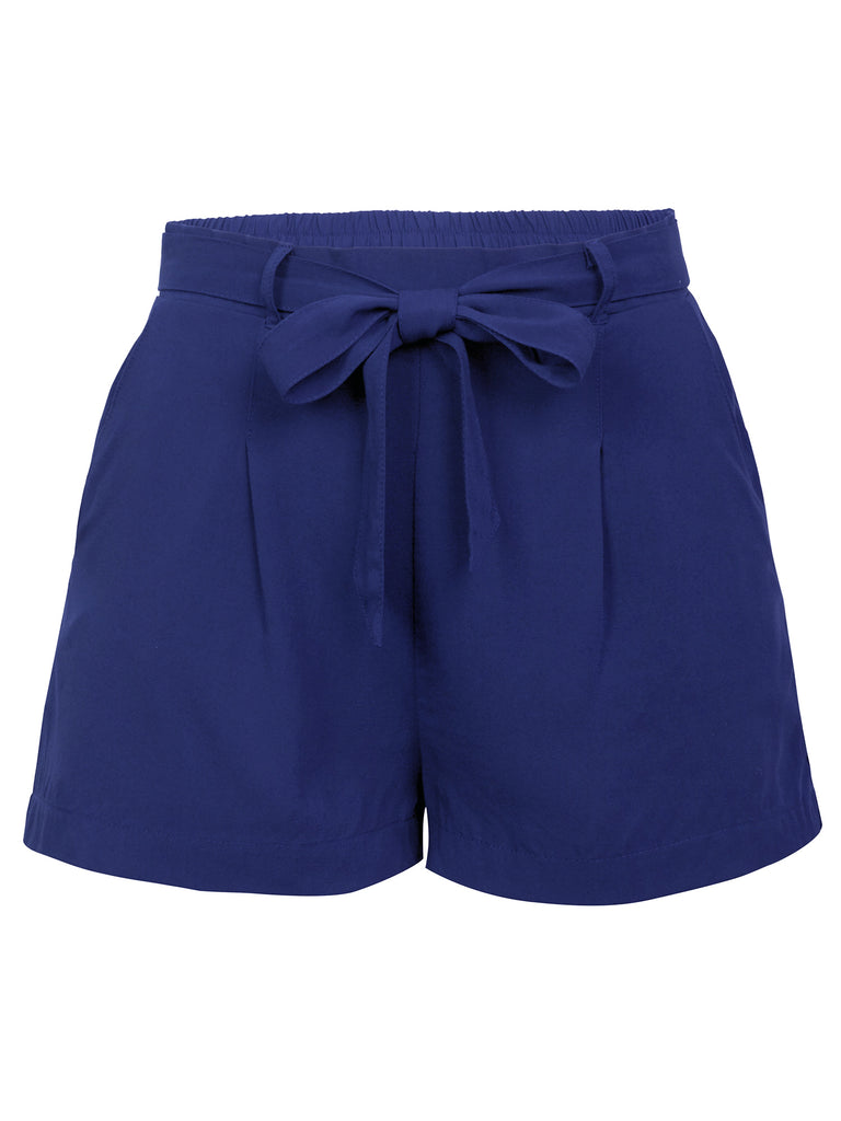 KOGMO Womens Casual Solid Woven Shorts With Self Tie Bow and Elastic Wasit Band