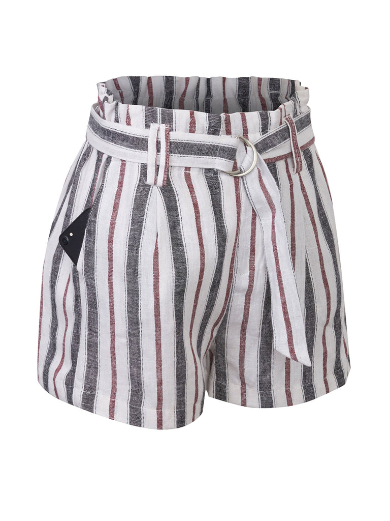 KOGMO Women's Casual Multi Color Striped Summer Beach Linen Shorts With Belt