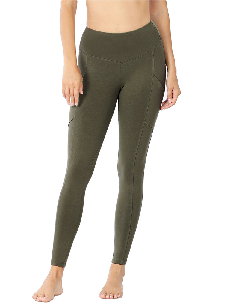 Womens Active Workout Full Length Cotton Leggings with Pockets (S-XL)