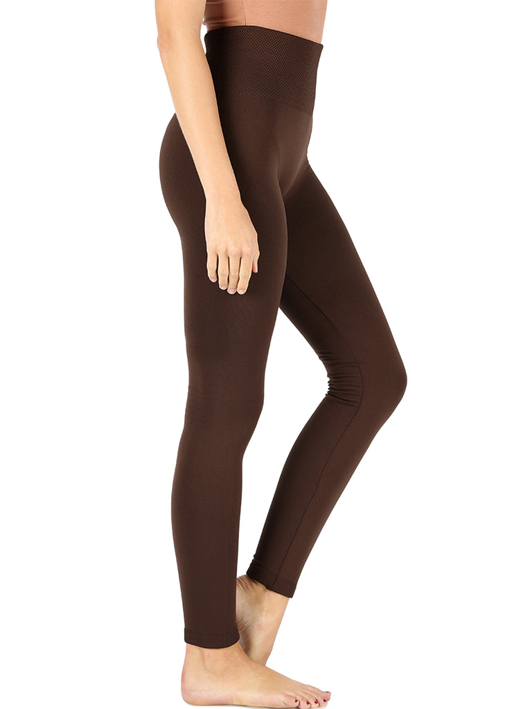KOGMO Women's Active Warm Fleece Lined Seamless Leggings with High Diamond Shape Band (2 Piece Available)