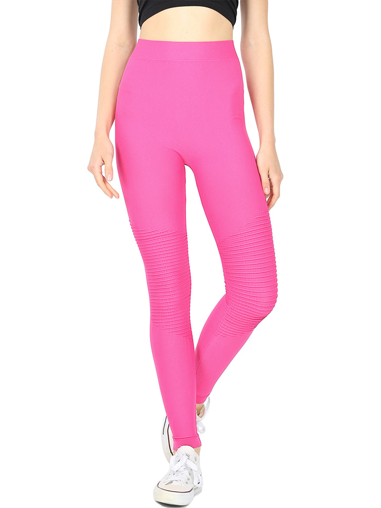 KOGMO Women's Active Seemless Moto Leggings with Pintuk Knee detail