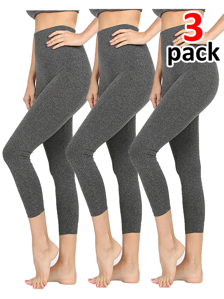 KOGMO Women's Active Seamless Capri Leggings with High Diamond Shaped Band 3PC
