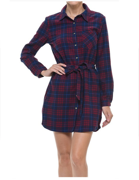 Plaid Front Tie Button Down Long Shirts Dress
