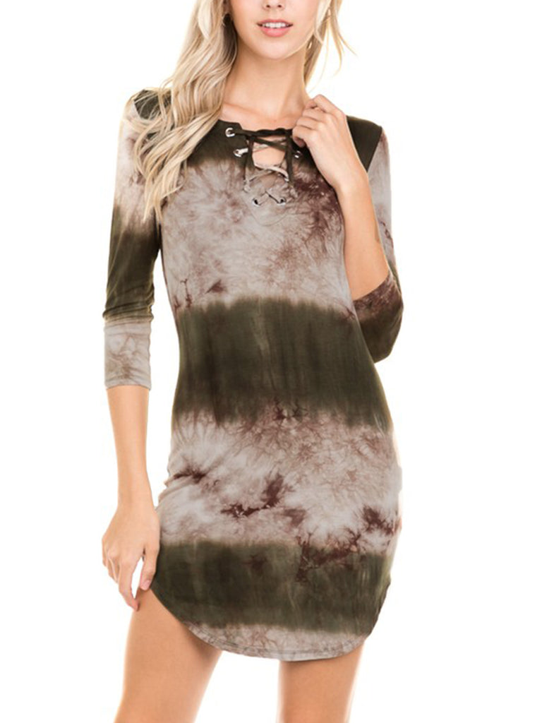 KOGMO Womens Front Eyelet 3/4 Sleeve Tie Dye Casual Dress