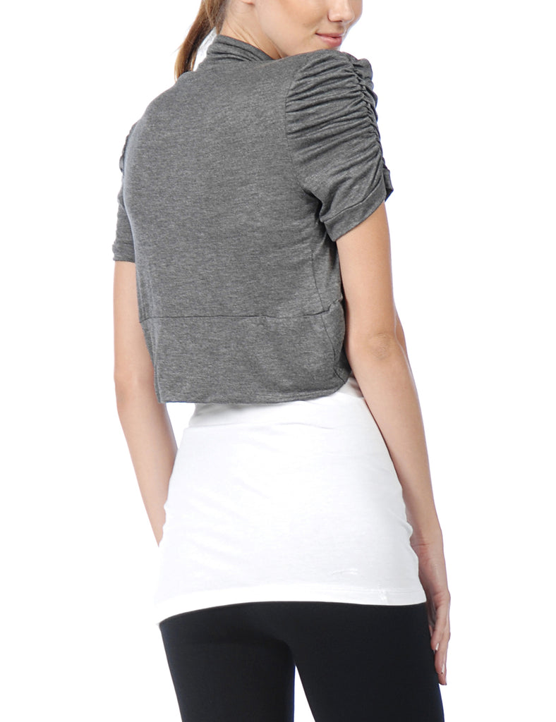 [Clearance] Women's Fitted Rouched Short Sleeve Open Bolreo Shrug Top