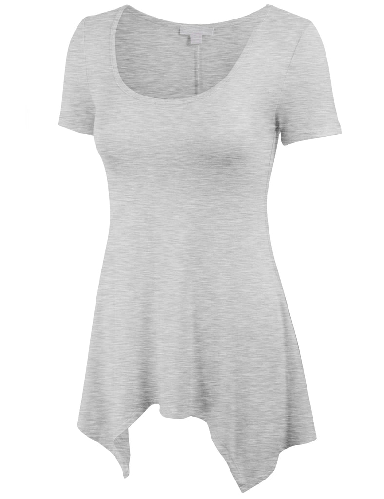 [Clearance] Women's Unique Asymmetrical Hemline Tunic Short Sleeve Wide Scoop Neck Top