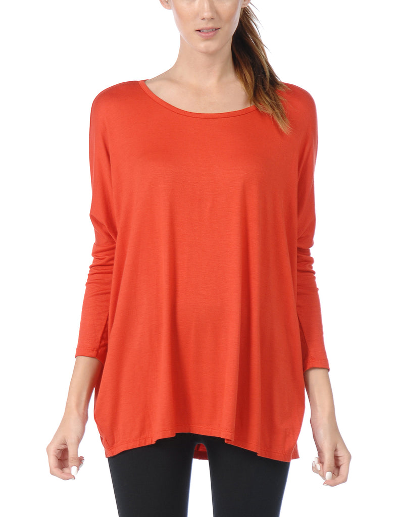 [Clearance] Women's Comfortable 3/4 Sleeve Dolman Tunic Top with Wide Round Neck