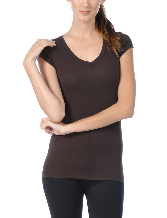 [Clearance] Women's Lightweight Short Sleeve V Neck T Shirt with Comfortable Stretch
