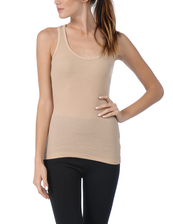 [Clearance] Women's 2x1 Rib Racer Back Tank Top with Stretch, Inner Hem Contrast Stitch