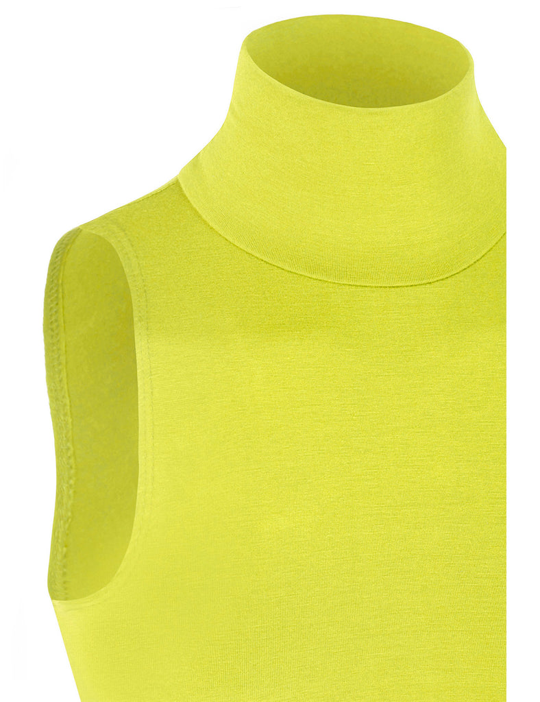 Lightweight Fitted Sleeveless Turtleneck Crop Top with Stretch