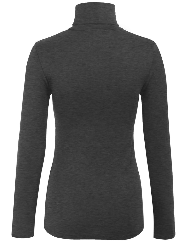 Turtleneck Long Sleeve Basic Solid Fitted Shirt with Stretch (95% Rayon/5% Spandex)