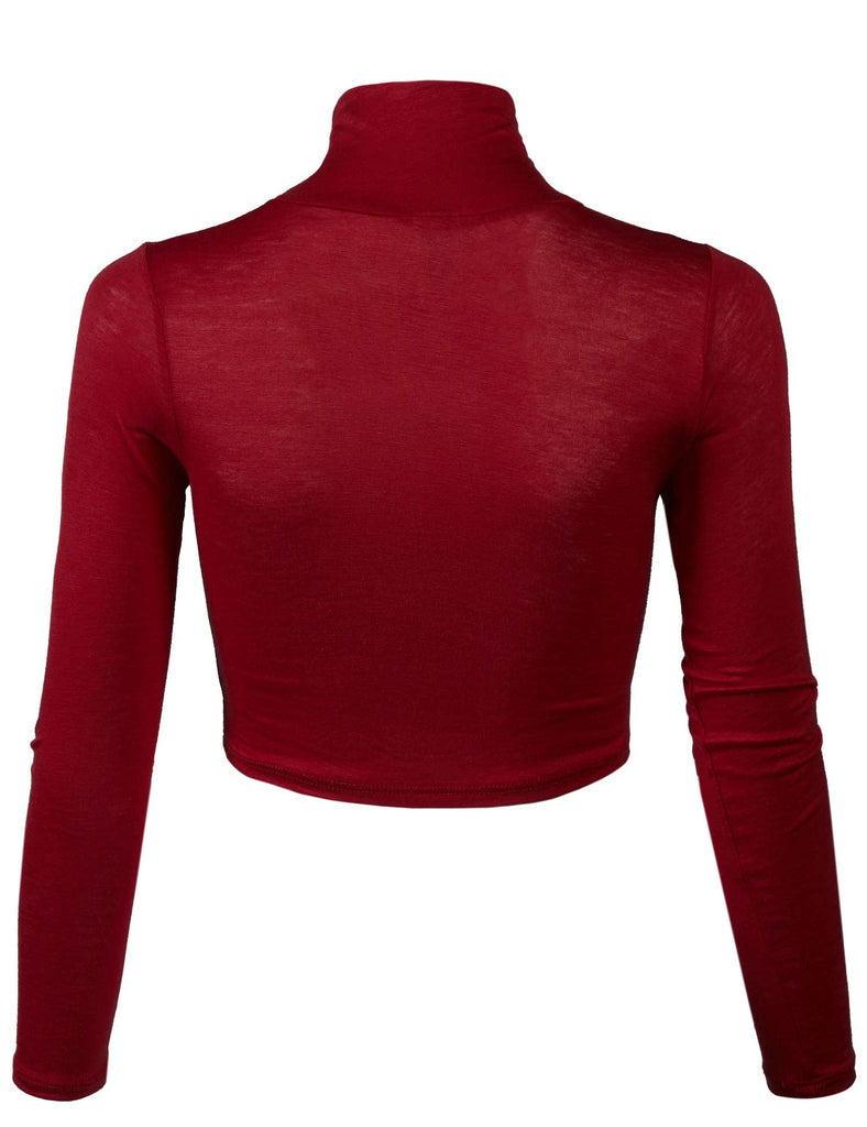 Lightweight Fitted Long Sleeve Turtleneck Crop Top with Stretch