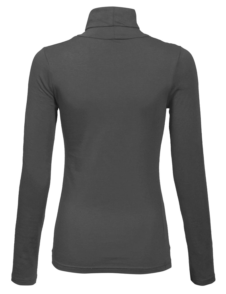 [Clearance] Women's Turtleneck Long Sleeve Basic Solid Fitted Shirt with Stretch