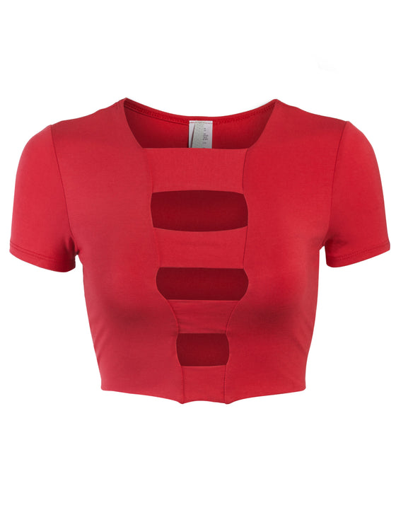 Womens Cut Out Fashion Crop Top