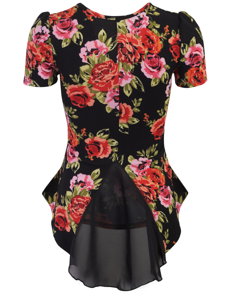 [Clearance] Womens Short Sleeve Textured Peplum Fitted Top with Floral Pattern