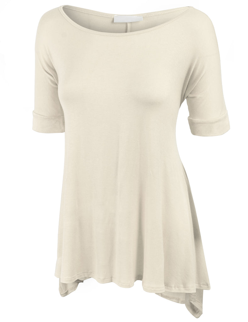 [Clearance] Womens Short Sleeve Loose Fit Knit Tunic with Flutter Hem Line