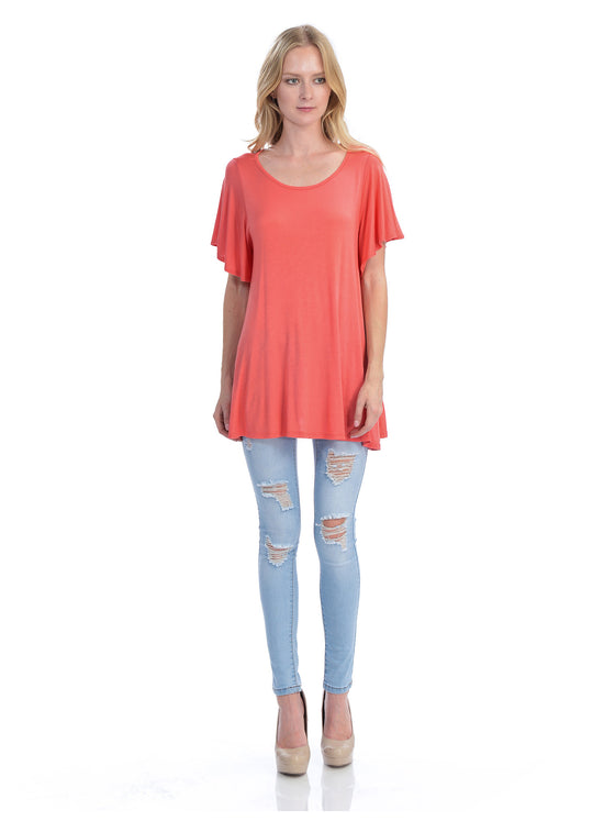 [Clearance] Womens Solid Basic Loose Fit Tunic Top with Ruffle Sleeve