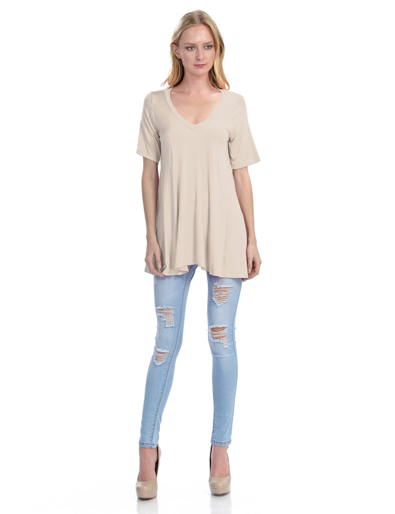 Short Sleeve V Neck Loose Fit Basic Knit Tunic Top