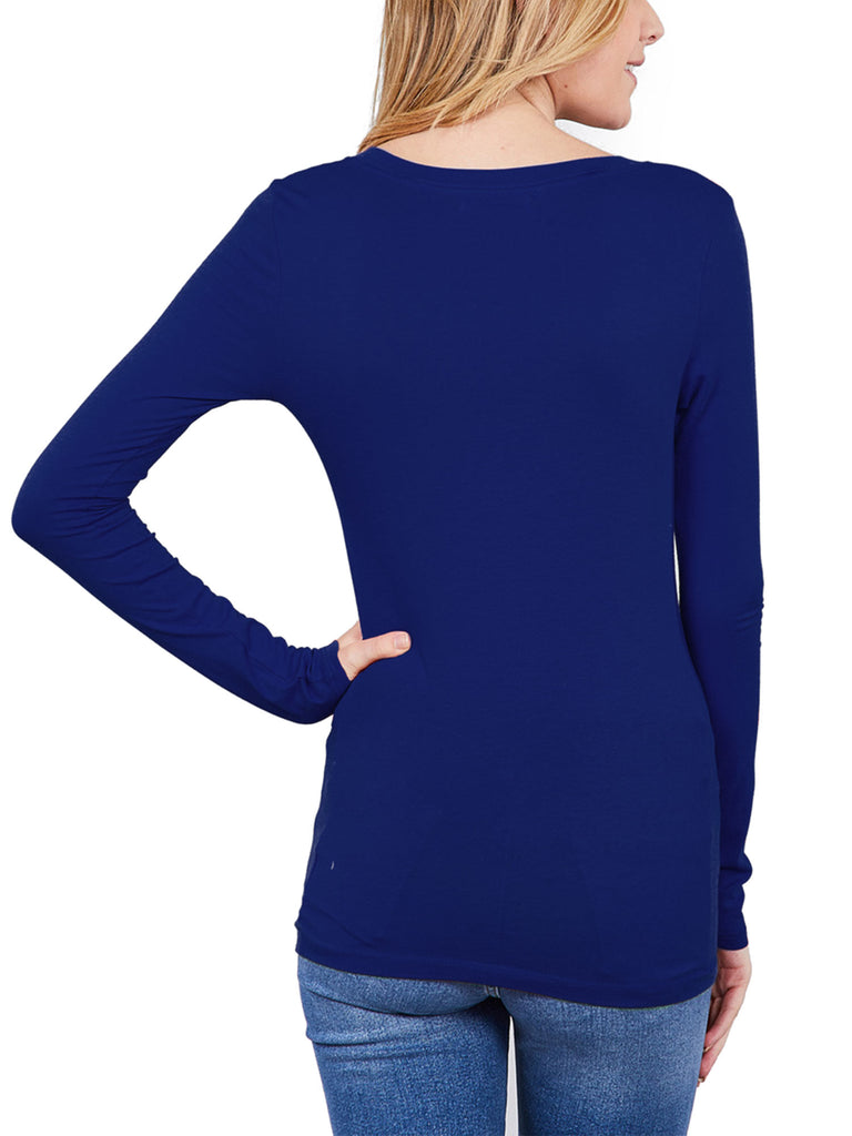 Womens Long Sleeve Basic Plain Scoop Neck T-shirt Top