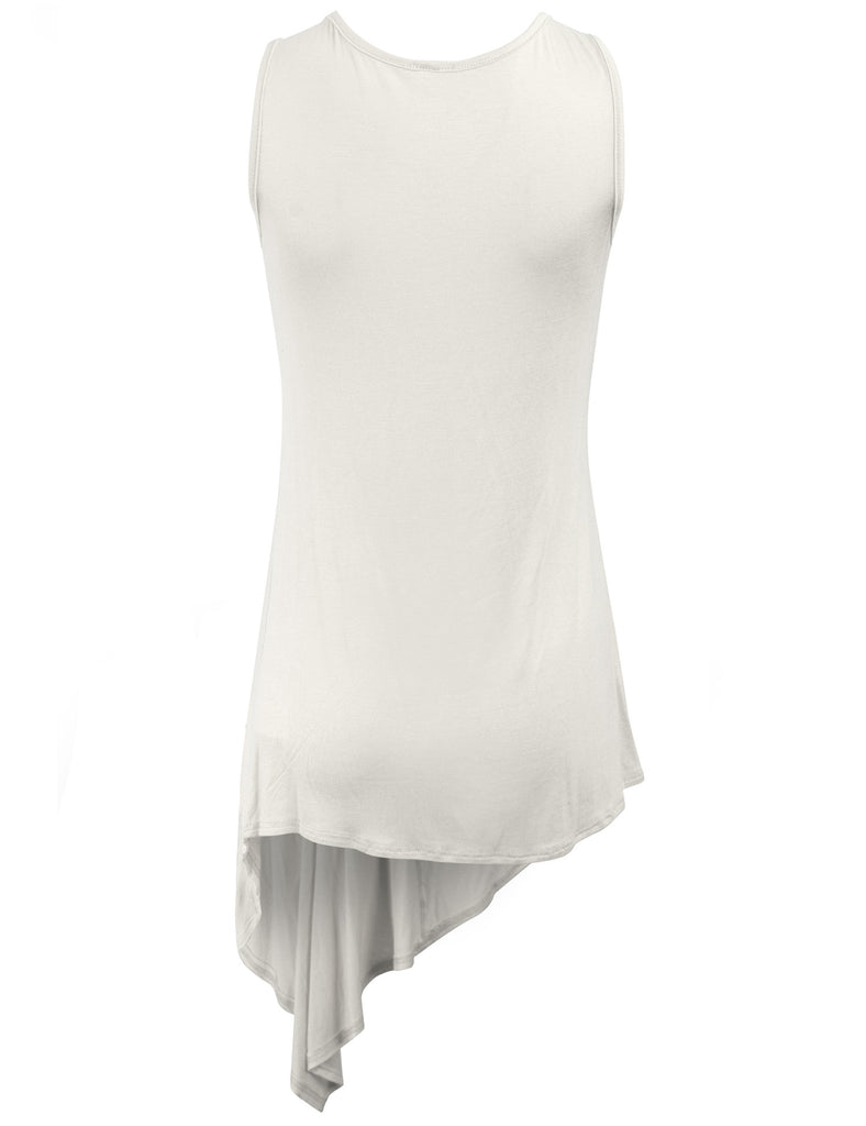 Handkerchief Hemline Sleeveless Tank Tunic Top