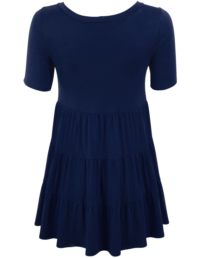 [Clearance] Womens Short Sleeve Babydoll Tunic Top Tunic Dress