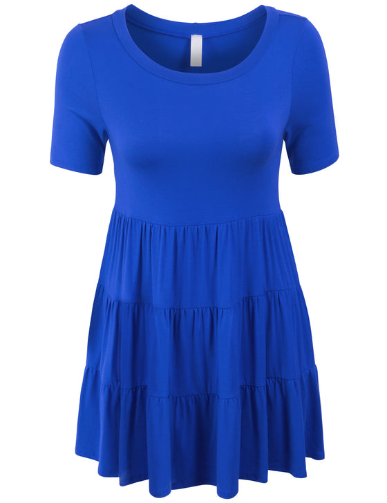Short Sleeve Babydoll Tunic Top Tunic Dress
