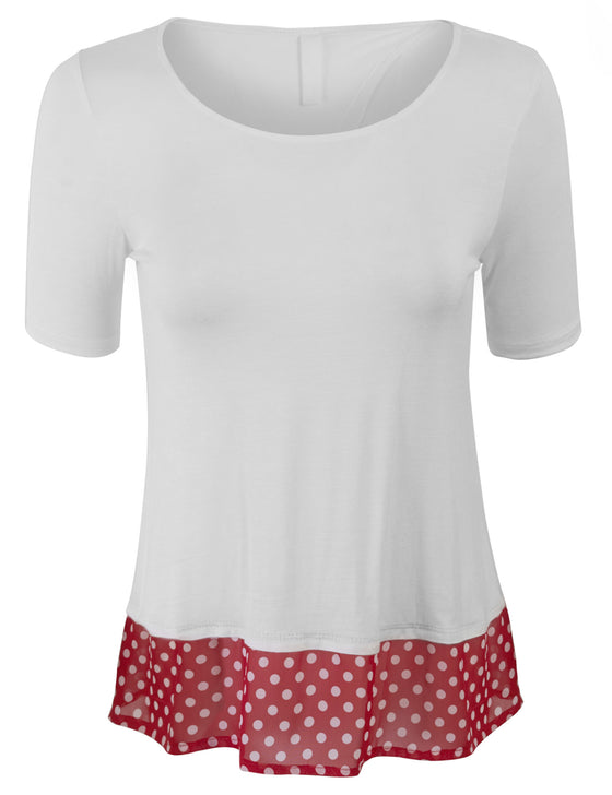 Fashion Top Open Back with Polka Dot Detail
