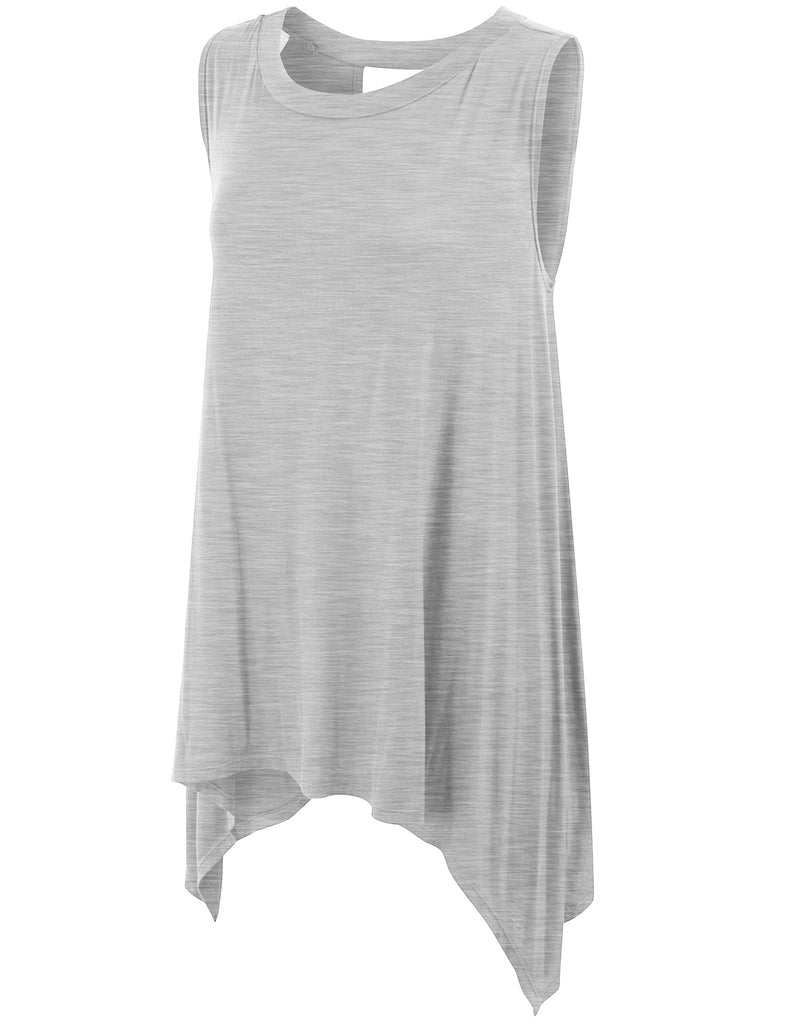 Sleeveless Extra Loose Fit Long Tunic Shirts with Keyhole