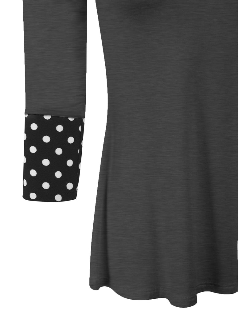 3/4 Sleeve Fashion T shirts Top with Polka Dot Sleeve