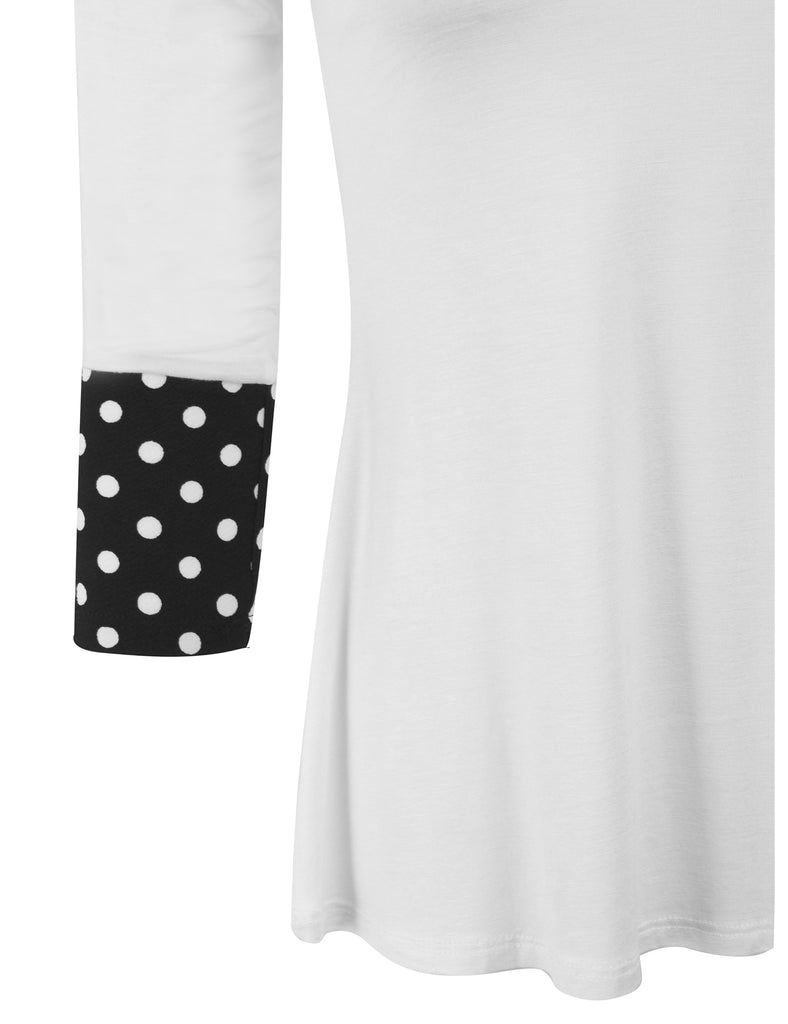 [Clearance] Womens 3/4 Sleeve Fashion T shirts Top with Polka Dot Sleeve