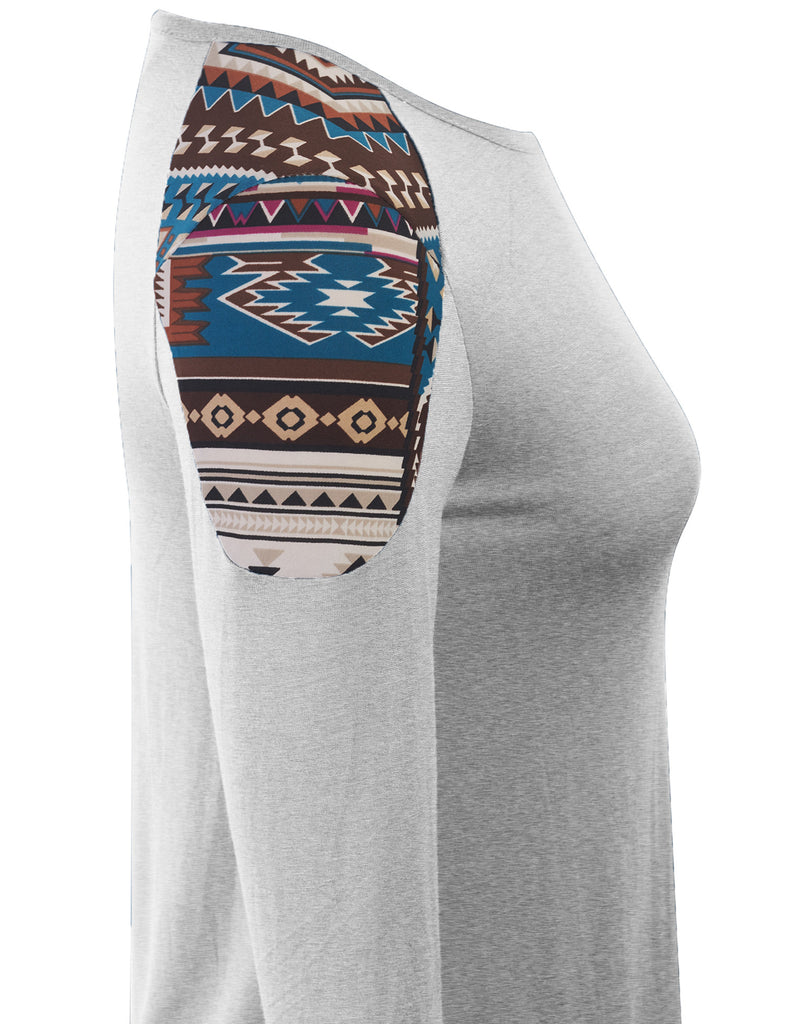 Womens Fashion T shirts Top with Aztec Print Sleeve