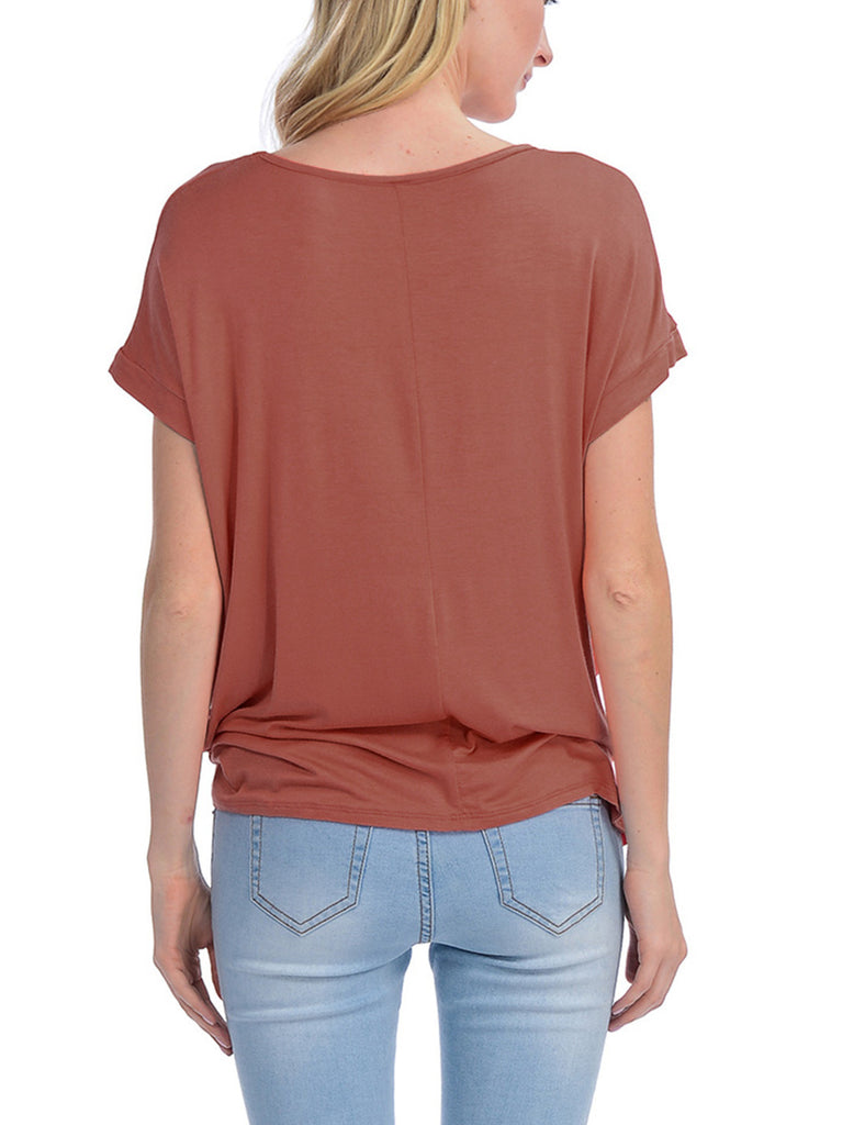 Solid Basic Boatneck Dolman Top with Knot on Hemline