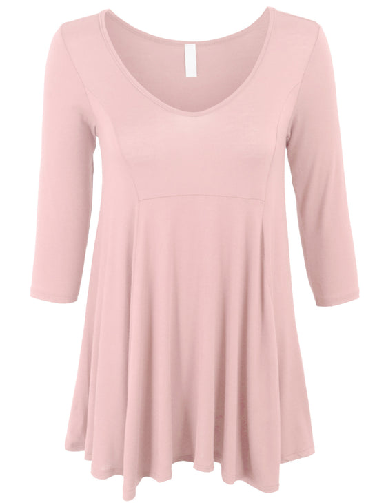 3/4 Sleeve V Neck Loose Fit Basic Knit Tunic Top
